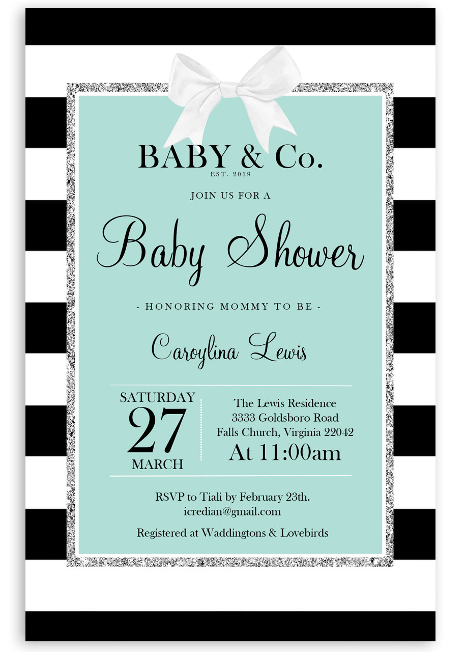 Tiffany Blue Baby Shower Invite And Co 1