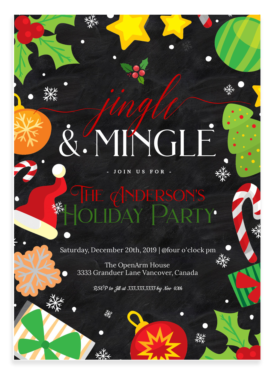 jingle and mingle christmas party invitation  2