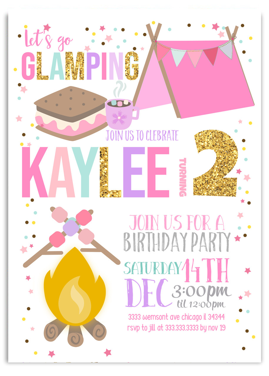 10 PERSONALISED CAMPING PARTY INVITATIONS GIRLS OR BOYS BIRTHDAY INVITES