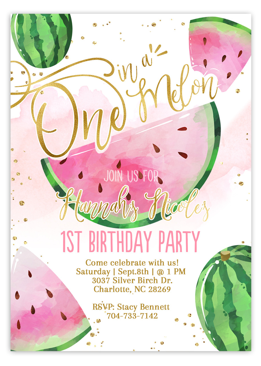 Watermelon birthday invitation Girl fruit invitation #4