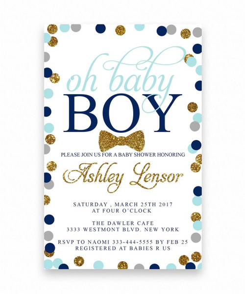 Oh baby shower invitation for a boy,oh baby shower invitation, polka dot baby shower invitation, glitter baby shower invitation, oh baby, modern,  bow tie,  pink and gold, oh baby girl, dream paperie, girl, boy, baby shower,