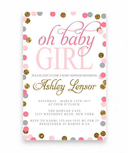 Oh baby shower invitation for a girl,oh baby shower invitation, polka dot baby shower invitation, glitter baby shower invitation, oh baby, modern,  bow tie,  pink and gold, oh baby girl, dream paperie, girl, boy, baby shower,