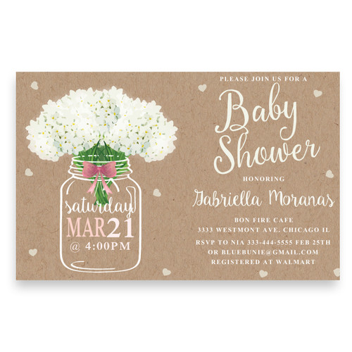 Mason Jar Baby Shower Invitation Pink Bow