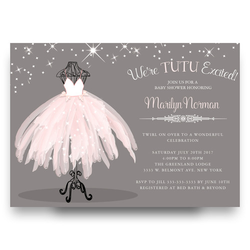 Tutu baby shower invitation, ballerina baby shower invitation, pink tutu baby shower, ballet baby shower, girl baby shower invitation, cheap baby shower invitation