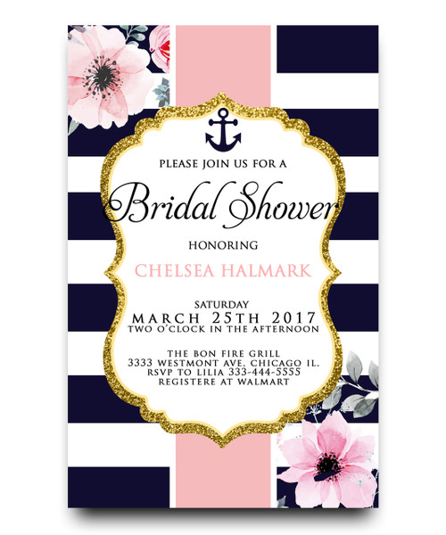 Nautical floral bridal shower invitation, nautical invitation, bridal shower invitation, anchor baby shower invitation, navy blue bridal shower invitation