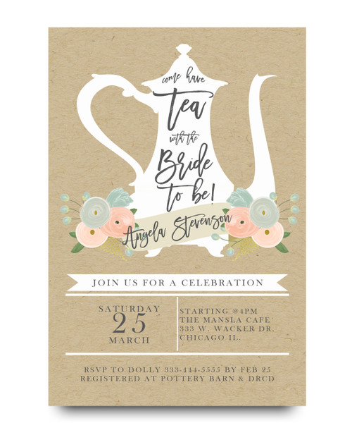Tea with the bride, bridal tea party,brunch, teapot, floral ,flowers, burlap