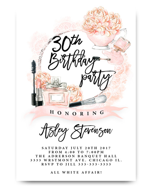makeup birthday invitation, milestone birthday invitation, floral birthday invitation, daisy perfume, vintage, watercolor invitation, flowers,