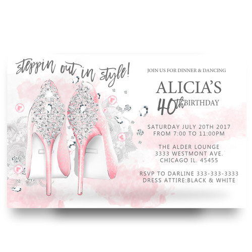 Glitter heels, pink heels, birthday invitation, adult birthday invitation,