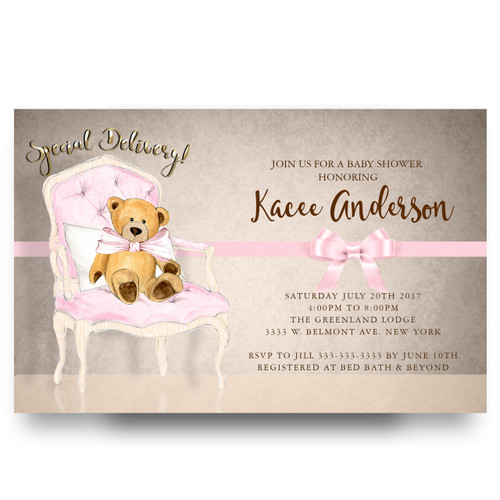 teddy bear baby shower invitation, pink bow, pink chair, vintage, elegant vingtage baby shower invitation, big bow,