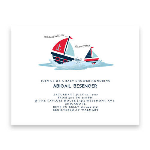 nautical baby shower invitation,  sail away with me, boat baby shower invitation, mom and baby,cheap baby shower invitation,
