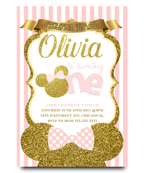 Minnie mouse Birthday invitation, Pink ballerina tutu