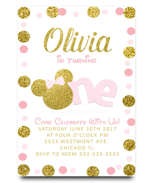 Minnie birthday invitation, pink and gold