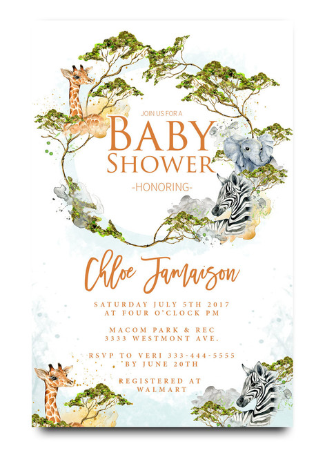 Jungle baby shower, zoo, giraffe, elephant, watercolors, baby shower invitation,cheap baby shower invitation, its a girl, cute baby shower invitation, retro, modern,white, girl baby shower invitation, dream paperie printables, cheap and cute, cheap invitations, dream paperie ,cheap invitations, modern invitation, cheap modern baby shower invitation, modern baby shower invitation, modern baby shower invitation, baby shower invitatioN