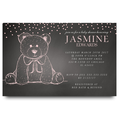 chalkboard teddy baby shower invitation, teddy bear, pink teddy bear, bow tie, cute teddy bear