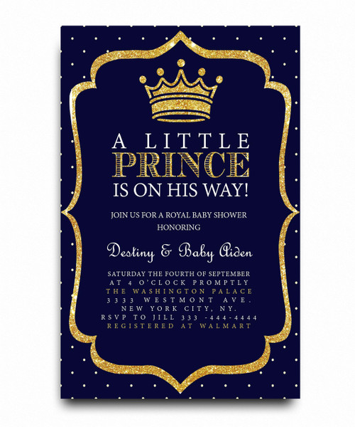 little prince, baby shower invitation, royal baby shower invitation,royal blue, glitter crown, gold, glitter gold, little prince, prince, royal prince,