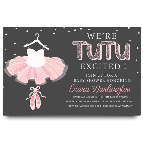 Tutu baby shower invitation, ballerina baby shower invitation, tutu excited, pink tutu, ballerina shoes, ballerina slippers, pink chalkboard, tutu, vintage