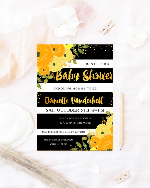 Floral fall baby shower invitation, fall baby shower  invitation,  fall invitation, baby  fall baby shower invitation