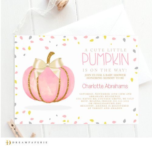 pink pumpkin baby shower invitation, pink pumpkin baby shower invitation,fall baby shower invitation, fall, autumn, affordable fall baby shower invitation, cheap fall invitation, baby shower invitation, dream paperie, seasonal baby shower invitation, leaves, trees, pumpkins, little pumpkin, modern fall baby shower, retro, vintage, pumpkin, its a girl, gender neutral,fall in love,