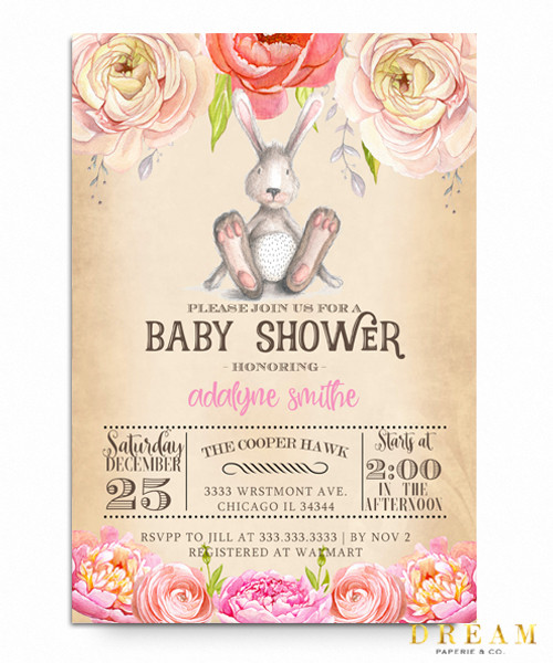 Bunny Floral baby shower invitation, Elegant baby shower invite, watercolor baby shower invite, Bunny baby shower invites, baby shower invitation, Flower baby shower