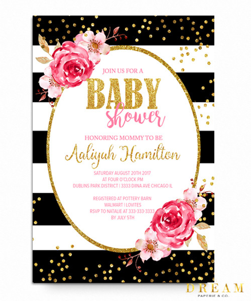 Floral Kate baby shower invitation, floral watercolors