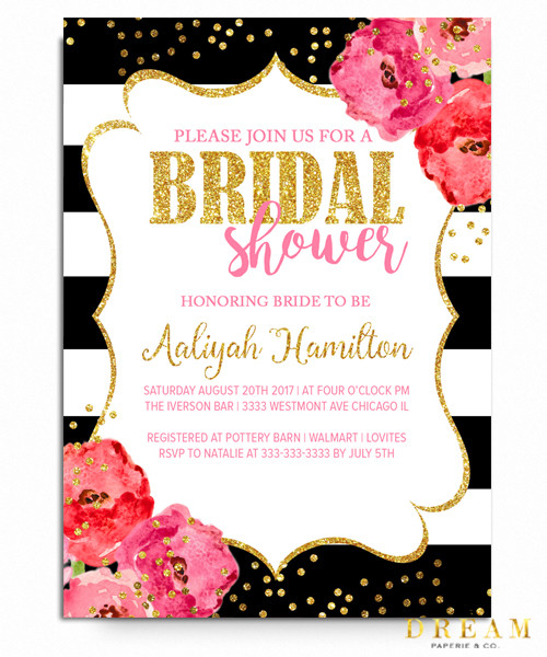 bridal shower invitation floral black and white kate spade invitation kate spade bridal