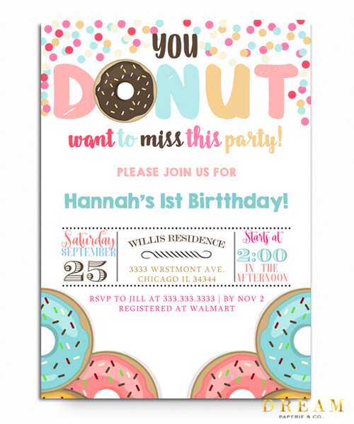 Donut Birthday Invitationdonut Party Donuts You Want To Miss This