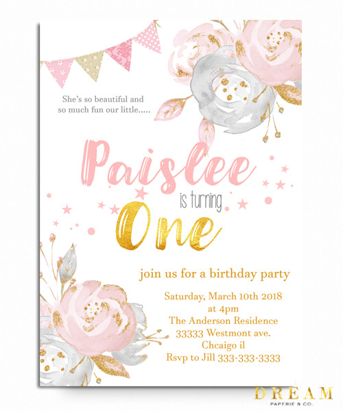 Floral elegant 1st birthday invitation,big one floral birthday invitation, pink flowers, 1st birthday,girl birthday, colorful, girl birthday invitation, cute birthday invitation, cheap birthday invitations
