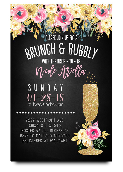 brunch and bubbly chalkboard bridal shower invitations