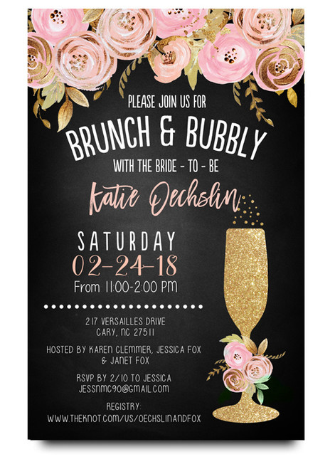 brunch and bubbly chalkboard bridal shower invitations pink flowers