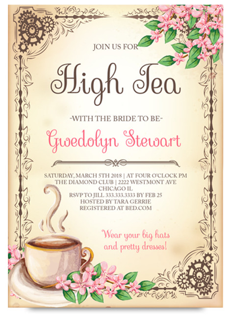 high tea bridal shower tea party bridal shower tea party invitation tea invitation