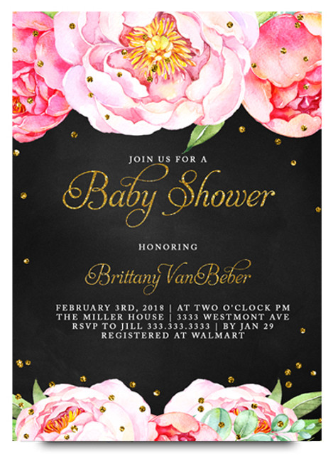 floral baby shower, invitation, chalkboard baby shower invitation,  flower baby shower invitation, baby shower invitation, baby shower, flowers, floral, chalkboard