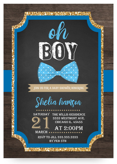 Bow tie, baby shower invitation, little man, bowtie baby shower, boy baby shower invitation, blue baby shower invitation, glitter bowtie invitation