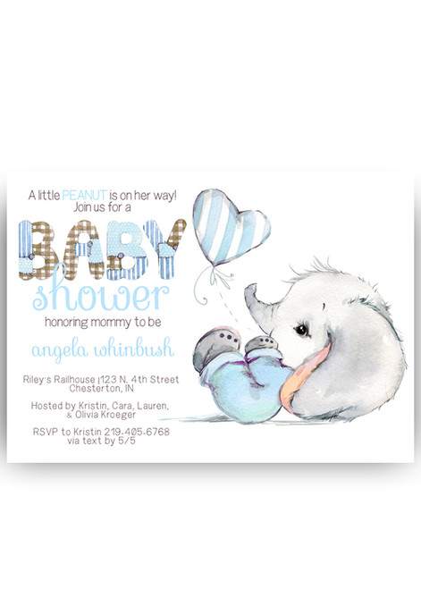 Elephant baby shower invitation, pink or blue elephant