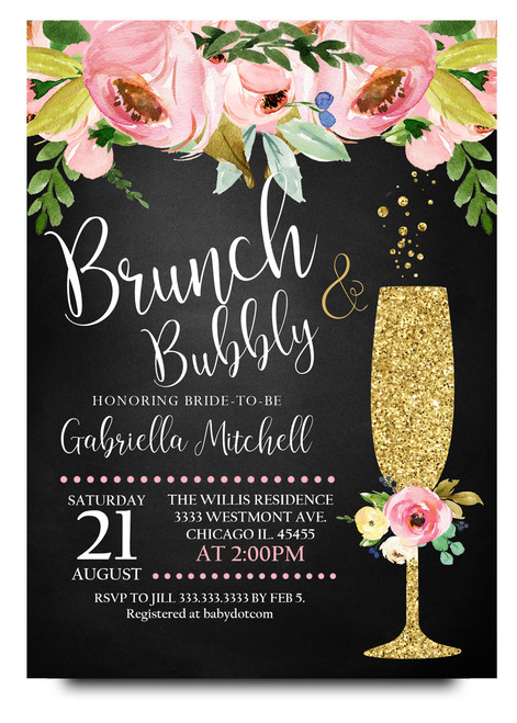 floral brunch and bubbly,chalkboard flowers, glitter champagne glass, brunch and flowers,boho bridal shower, floral, cheap bridal shower invitation