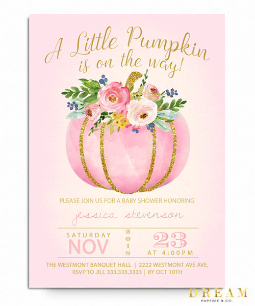 fall baby  shower, pumpkin pink, pumpkin, fall baby, baby shower invitation, baby girl shower
