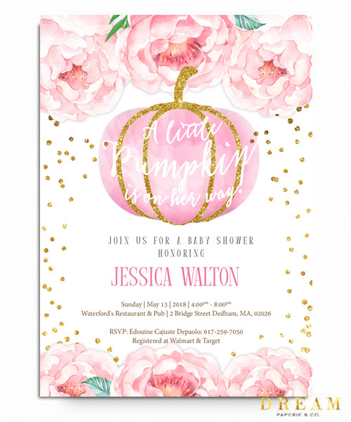 Pumpkin Pink baby shower invitations, floral baby shower