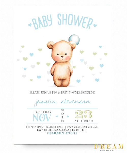 Boy baby shower invitation, teddy bear , baby shower invitation, its a boy, baby boy shower, little man, teddy bear balloon,