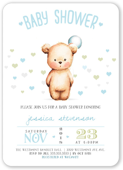 Round baby shower invitation