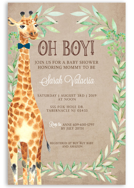 Jungle baby shower, zoo baby shower invitation, bow tie giraffe ,Safari baby shower, safari baby shower invitation, safari invitation, jungle baby shower, jungle baby shower invitation