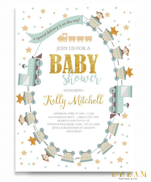 little train baby shower invitation, little engine baby shower invitation