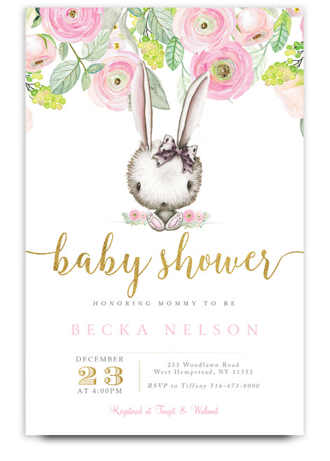 Bunny baby shower invitation, floral bunny invitation, watercolor bunny invitation, pink baby shower invitation, gold and pink invitation, cheap baby shower invitation, flower baby shower invitation