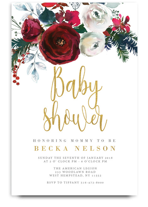 Holiday baby shower invitation, Christmas baby shower invitation, holiday baby, red baby shower invitation, blush baby shower invitation, Christmas invitation