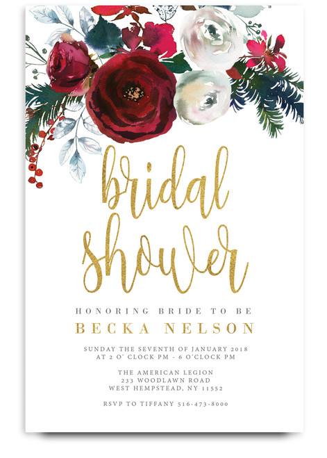Holiday bridal shower invitation, christmas bridal shower invitation, red flower bridal shower invitation, gold bridal shower invitation, holiday party, christmas party invitation, cheap bridal shower