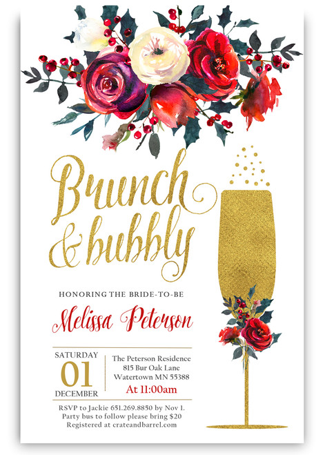 Holiday Brunch and bubbly bridal shower invitation, Brunch and bubbly, invitation, Christmas bridal shower invitation, holiday bridal invite