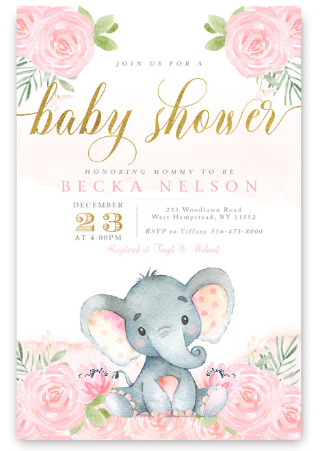 Elephant baby shower invitation, flower baby shower invitation,