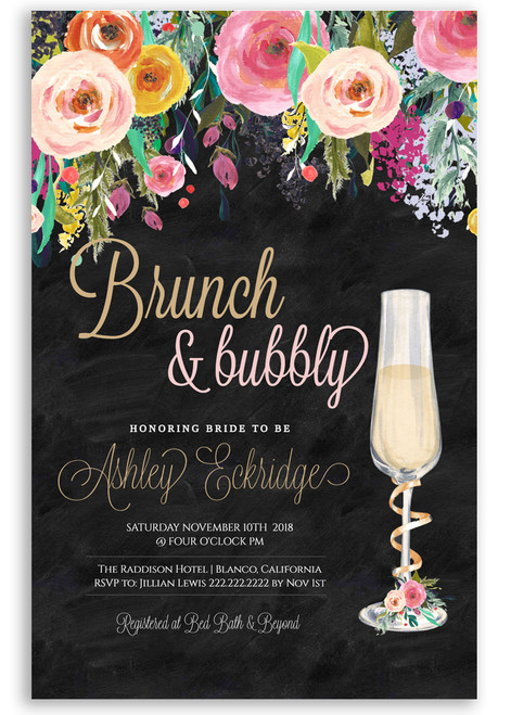 Brunch and bubbly chalkboard bridal shower invitation