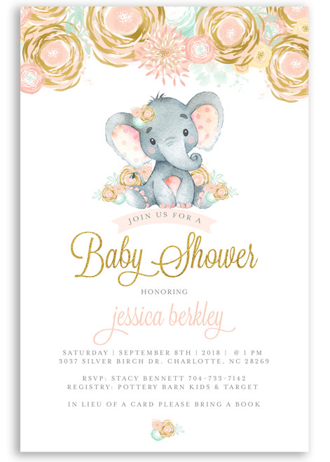 Elephant baby shower invitation, pink floral elephant #10