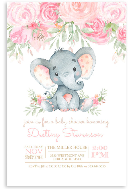 Elephant baby shower invitation,Elephant with flowers, elephant, pink elephant, vintage elephant,baby shower invitation,cheap baby shower invitation, its a girl, cute baby shower invitation