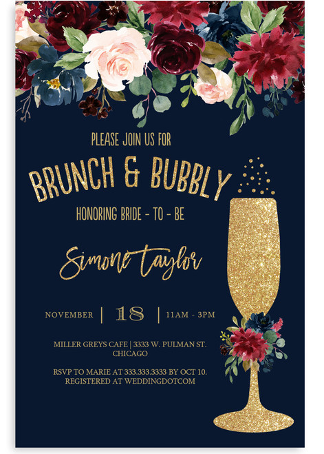 floral brunch and bubbly invitation,navy blue flowers, glitter champagne glass, brunch and flowers,boho bridal shower, floral, cheap bridal shower invitation, modern bridal shower, cute bridal shower invitation, retro bridal shower invitation, elegant, affordable bridal shower invitation,wedding invitation,occasion, cute,bachelorette party, bride, whimsical,printed, dream paperie, formal invitations, dinner invitation,custom invitation, card stock, samples, wed, bridal shower thank you cards