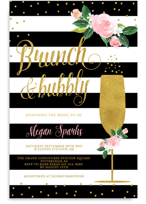 Brunch and bubbly Navy blue invitation